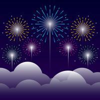Firework On Night Background Illustration