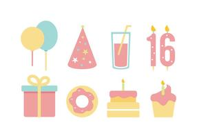 Free Birthday Flat Icon Set