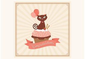 Congratulations Cupcake Card Vector