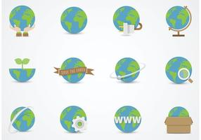 Earth Globe Vector Flat Icons