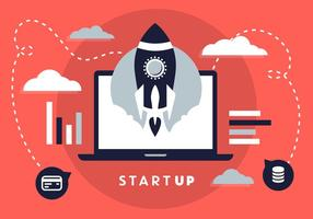 Free Flat Design Business Startup with Rocket Icon