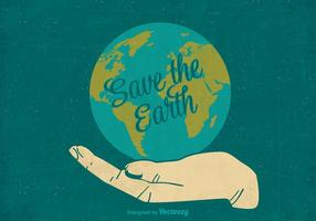 Retro Save The Earth Vector Poster
