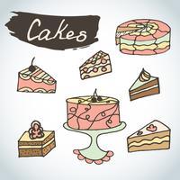 Hand drawn sweet cakes set.