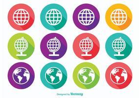 Long Shadow Earth Globe Icons