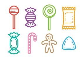 Outlined Candy Icons Vector
