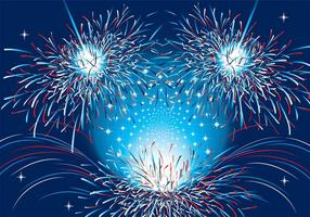 Patriotic Fireworks Vector Background Two