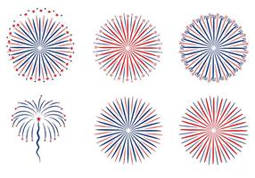 Patriotic Fireworks White Background Vector
