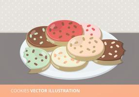 Plate of Cookies Vector Illustration