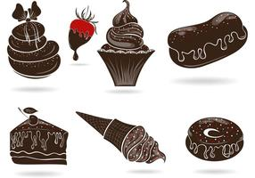 Set of Free Vector Sweets with Chocolate