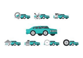 Teal Car Auto Body Icon Vectors