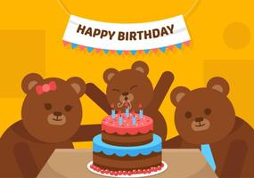 Vector First Birthday Bear