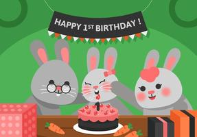 Vector First Birthday Rabbit