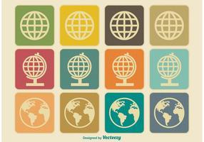Vintage Earth / Globe Icons