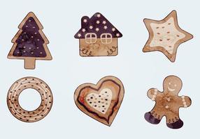 Watercolor Vector Christmas Cookies