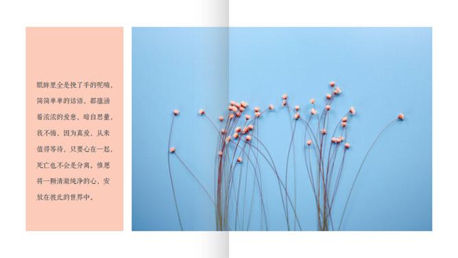清新小说风格的翻页风格PPT模板下载