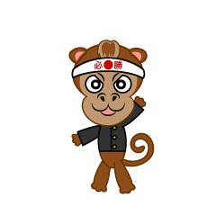 ボレーシュートする猿キャラ