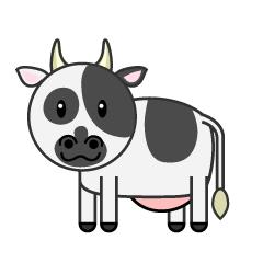 新年挨拶する牛夫婦