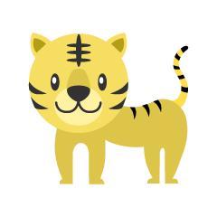 新年挨拶する着物の虎