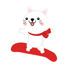 スノーボードジャンプする白ネコ