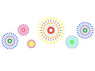 夏祭り花火と赤提灯