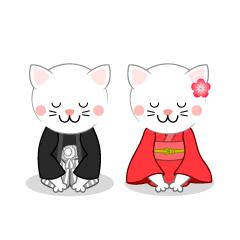 白ネコ夫婦の新年挨拶