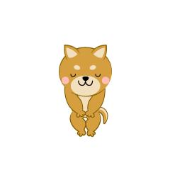 お辞儀する柴犬キャラ