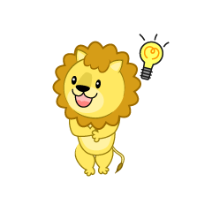 ポンポンで応援するライオン