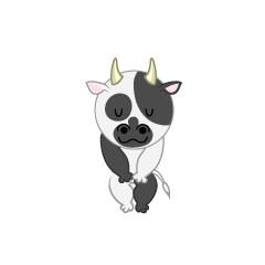 お辞儀する牛キャラ