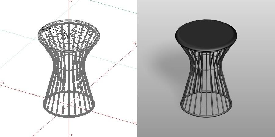 formZ 3D インテリア 家具 椅子 丸椅子 interior furniture chair