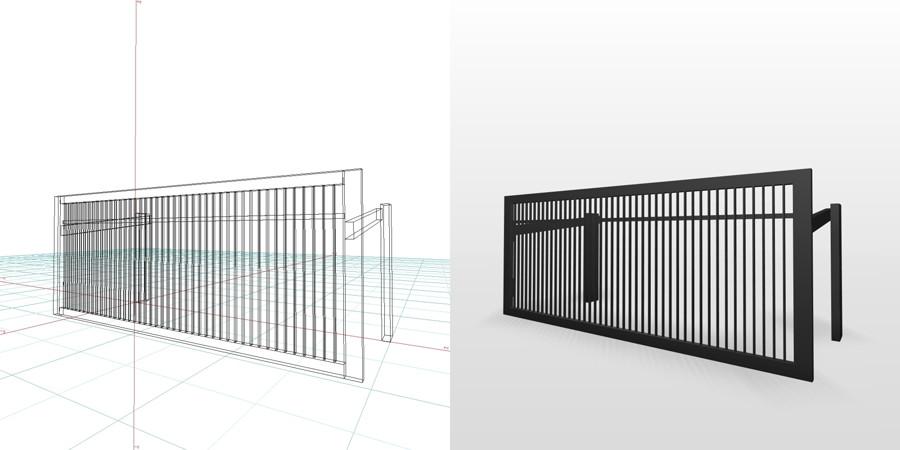 formZ 3D エクステリア 車庫廻り 跳ね上げ門扉 ハイルーフ
