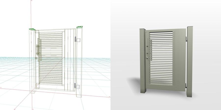 formZ 3D エクステリア 門扉 片開き門扉