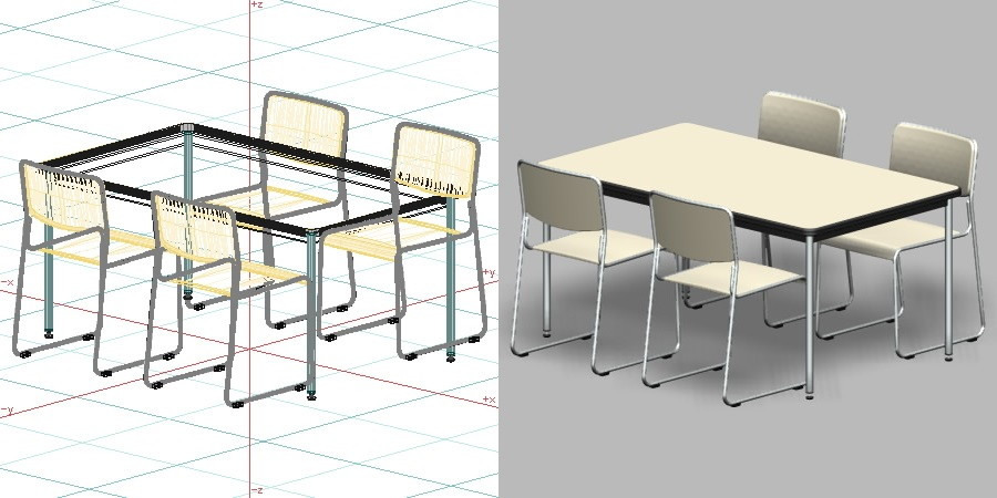 formZ 3D インテリア 家具 椅子 スチールパイプ椅子 interior furniture chair 事務 オフィス家具 業務用 イス テーブル
