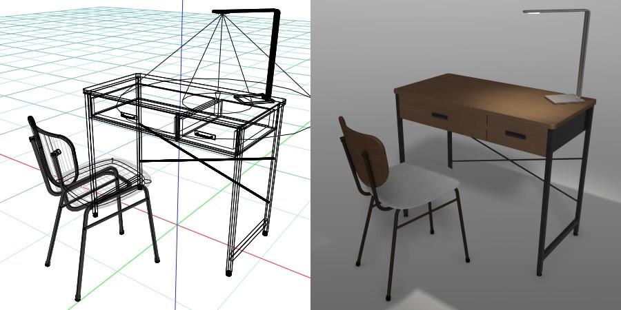 formZ 3D インテリア 家具 椅子 スチールパイプ椅子 interior furniture chair オフィス家具 いす イス デスク desk ライト light