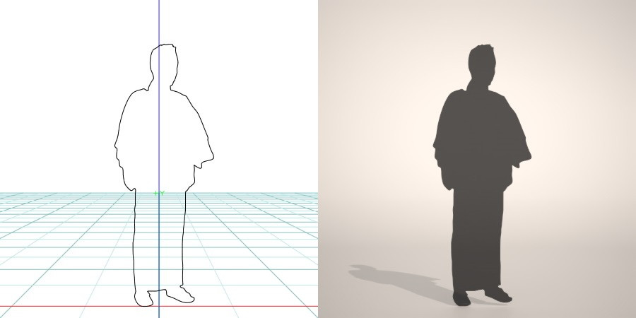 formZ 3D シルエット silhouette 男性 man 浴衣 日本 和服 夏 雪駄 草履