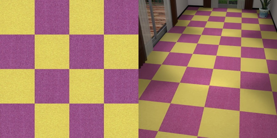 CAD,フリーデータ,2D,テクスチャー,texture,JPEG,タイルカーペット,tile,carpet,黄色,yellow,紫色,むらさき,purple,市松貼り,2色市松
