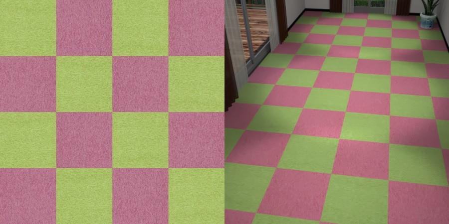 CAD,フリーデータ,2D,テクスチャー,texture,JPEG,タイルカーペット,tile,carpet,ピンク色,pink,緑色,グリーン,green,市松貼り,2色市松