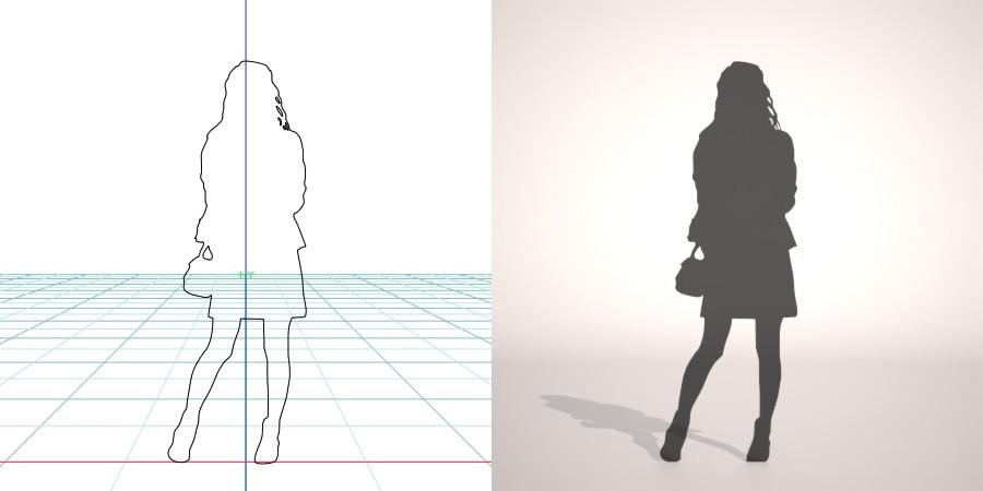 【3D女生剪影】3DMAX精选17款3D女生剪影下载,女生影子模型免费推荐款