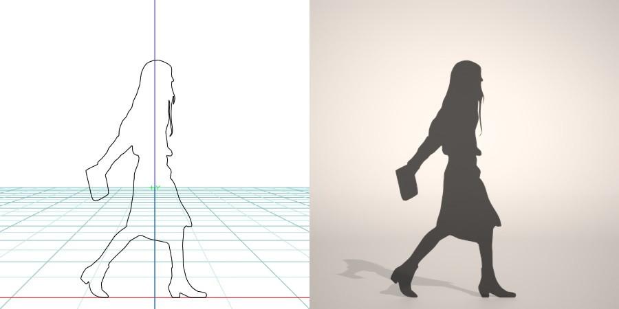 formZ 3D シルエット silhouette 女性 woman female lady 歩く walk 鞄 かばん カバン bag