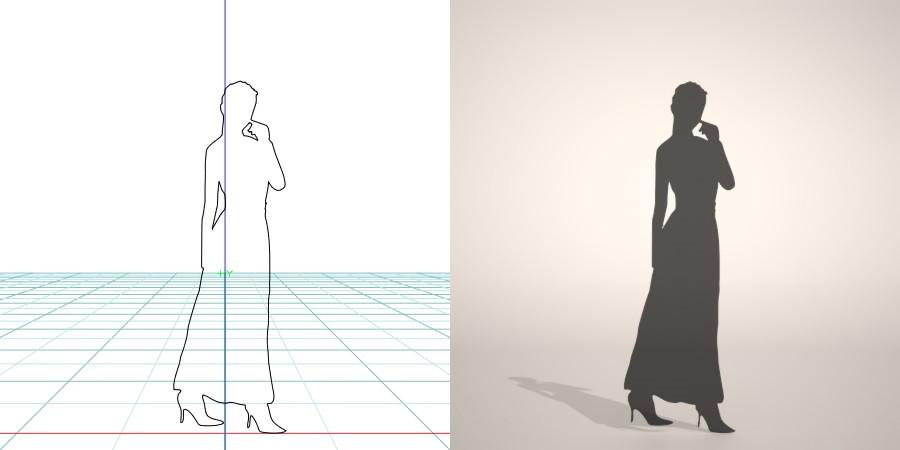 formZ 3D シルエット silhouette 女性 woman female lady スカート skirt