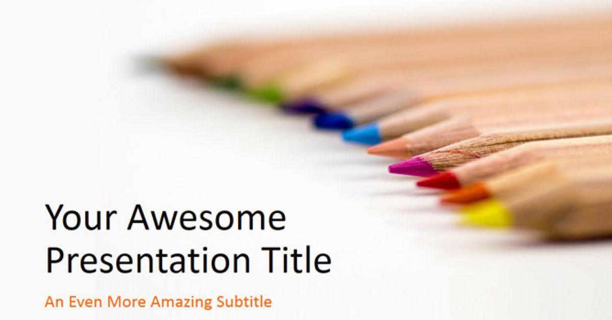 彩色繪圖PPT模板下載,23頁高質量的鉛筆背景簡報免費推薦