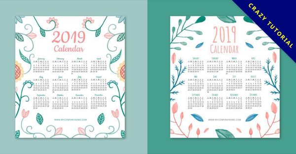 【2019年日曆模板】23張高品質的2019年日曆模板下載,優質圖像推薦
