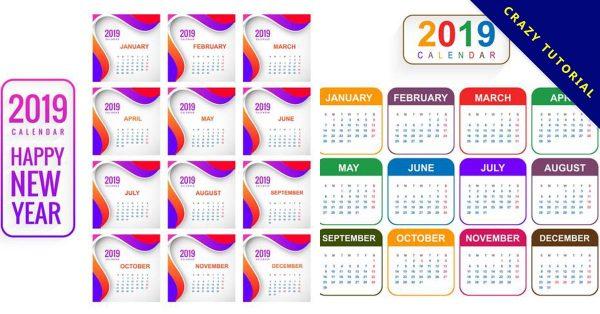 【2019年月曆模板】17個高品質的2019年月曆模板下載,高質量矢量圖推薦