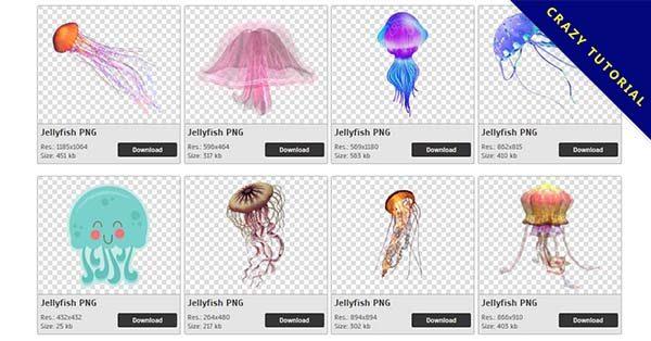 【水母PNG】精選54款水母PNG點陣圖素材下載,完全免去背的水母圖案