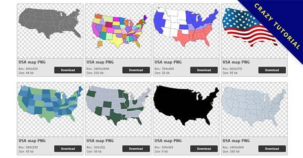 【美國地圖PNG】精選27款美國地圖PNG點陣圖素材包下載,免費的美國地圖去背圖案