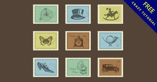 【郵票素材】美編必備的11張可愛的郵票圖案下載