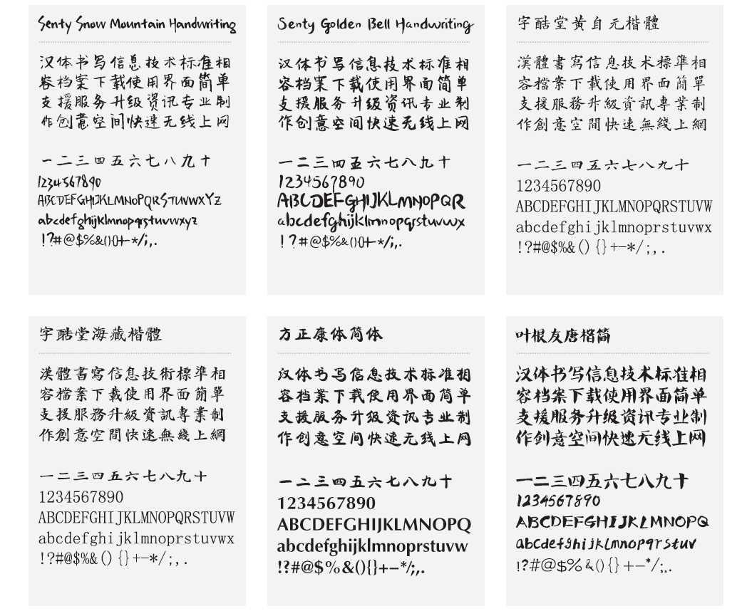 提供大量的繁體中文字體下載,提供了很多常用的可愛字型