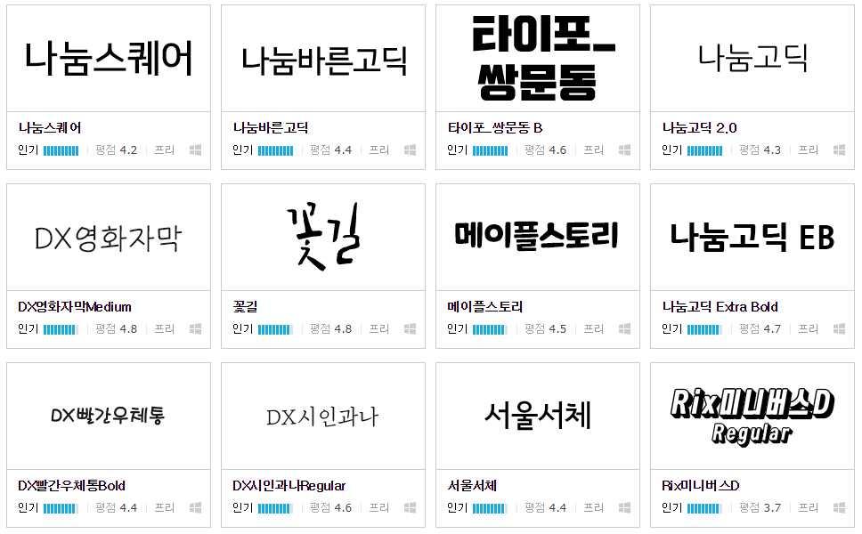 這應該是韓國重量級的網站,裡面的字體都是高人氣的流行字體,一個月網站流量有6億人