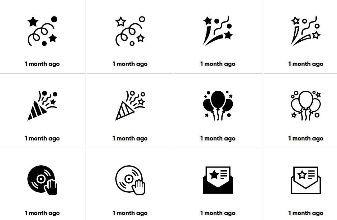 這網站的ICON素材都是以黑白的風格為主,比較類似簡報中的小選項的開頭圖案,每一個素材都擁有4種格式可以下載