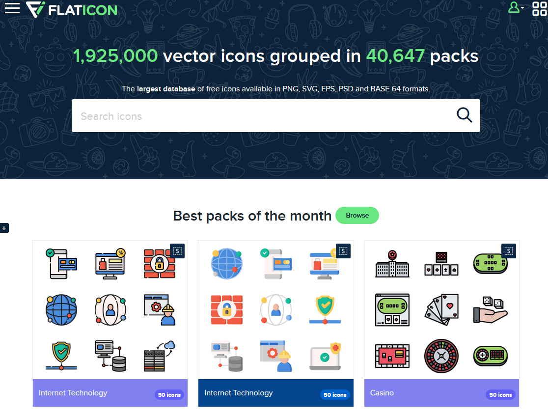 網站庫存了190萬個向量ICON素材免費下載,原則上做PPT靠這網站應該就沒問題了