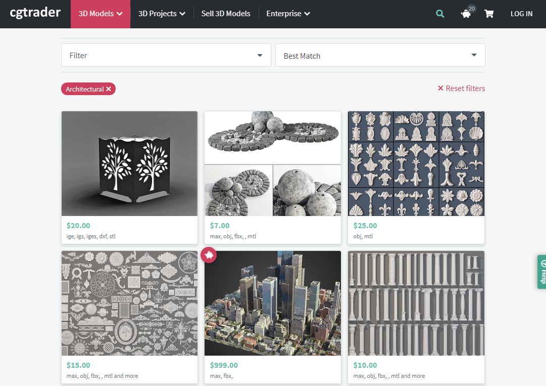 擁有各式各樣的模型模塊下載,每一組模型都有很多格是可以下載,等於說一個網站就可以滿足你所有的設計需求